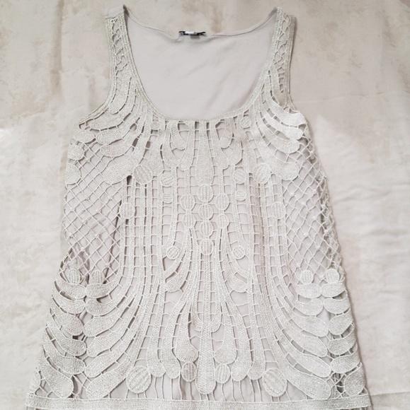 Express Tops - Express crochet embroidered tank top